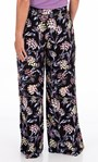 Floral Printed Pull On Trousers Black/Lilac/Yellow - Gallery Image 2
