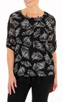 Anna Rose Leaf Print Mesh Layered Top With Necklace Black/Ivory - Gallery Image 1