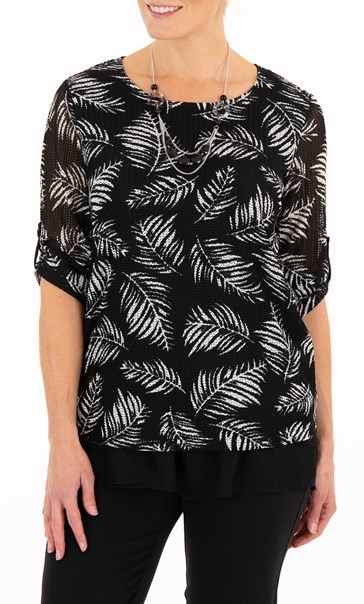 Anna Rose Leaf Print Mesh Layered Top With Necklace Black/Ivory