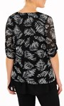 Anna Rose Leaf Print Mesh Layered Top With Necklace Black/Ivory - Gallery Image 2