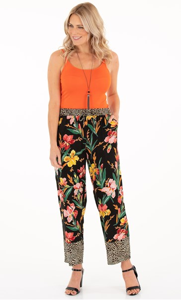 Floral And Animal Print Trousers Black/Sunflower/Red