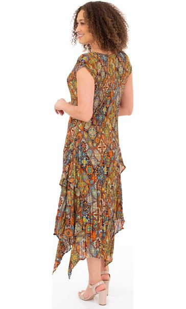 Printed Pleat Dip Hem Midi Dress