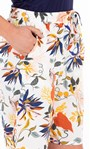 Botanical Printed Pull On Shorts Ivory/Rust - Gallery Image 3