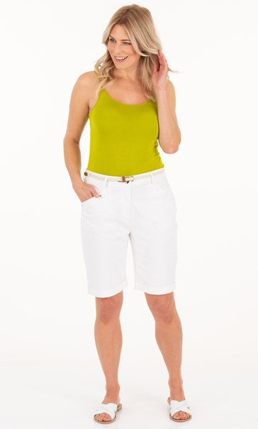 Belted Stretch Shorts White