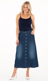 Button Maxi Denim Skirt