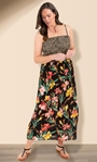 Animal And Floral Print Strappy Maxi Dress Black/Sunflower/Red - Gallery Image 1