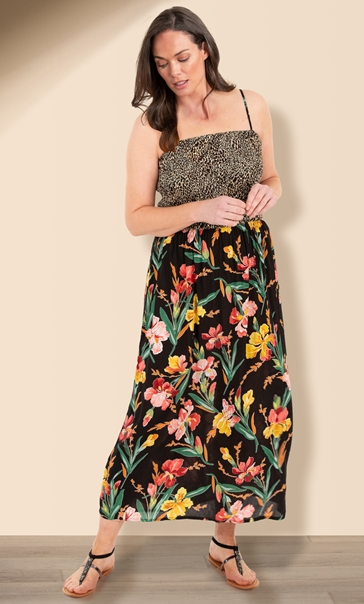 Animal And Floral Print Strappy Maxi Dress Black/Sunflower/Red