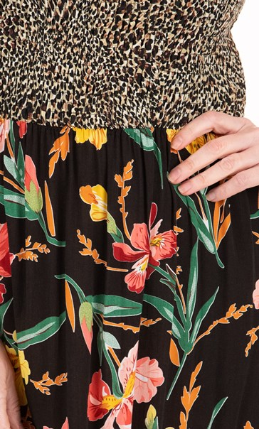 Animal And Floral Print Strappy Maxi Dress