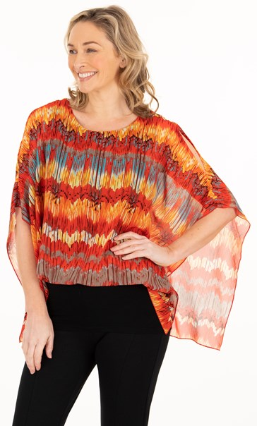 Printed Georgette And Jersey Top Orange/Chocolate/Teal