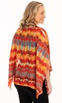 Printed Georgette And Jersey Top Orange/Chocolate/Teal - Gallery Image 2