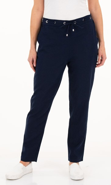 Anna Rose Linen Blend Tapered Trousers Navy