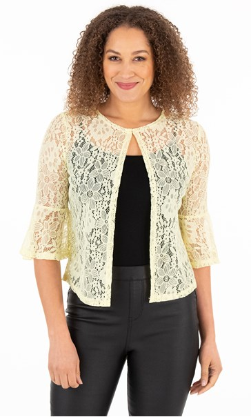 Three Quarter Sleeve Lace Cover Up - Soft Lemon