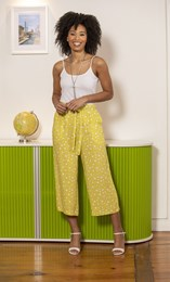 Wide Leg Cropped Spot Trousers