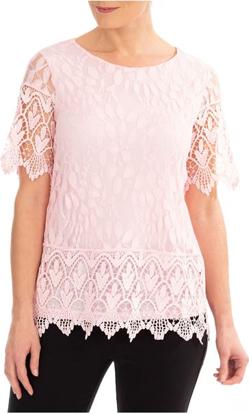 Anna Rose Lace And Crochet Top Pink