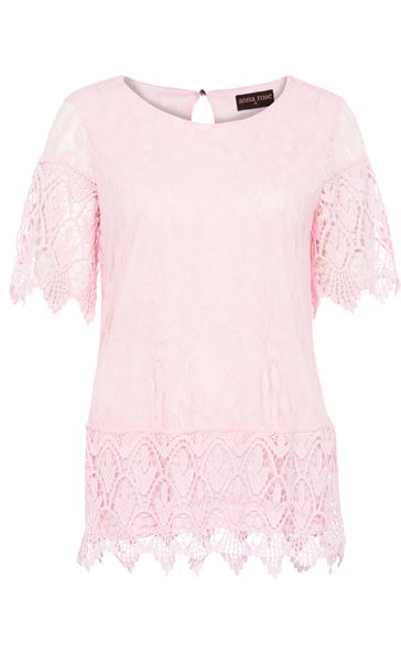 Anna Rose Lace And Crochet Top Pink - Gallery Image 3