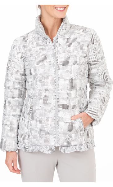 Anna Rose Check Quilted Coat Grey/White