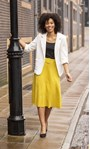 Suedette Belted Midi Skirt Lime - Gallery Image 1