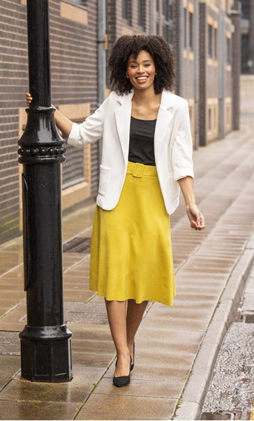 Suedette Belted Midi Skirt Lime