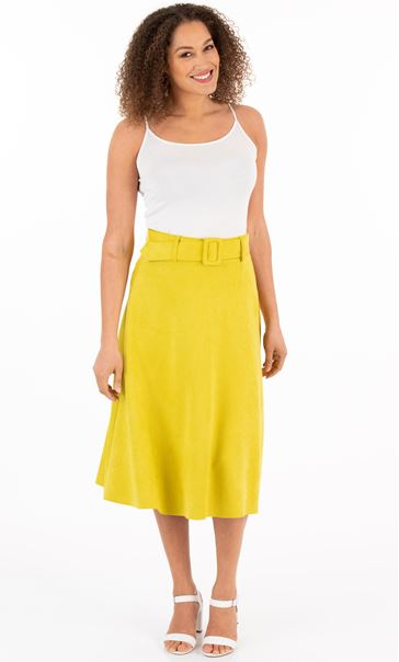 Suedette Belted Midi Skirt - Lime