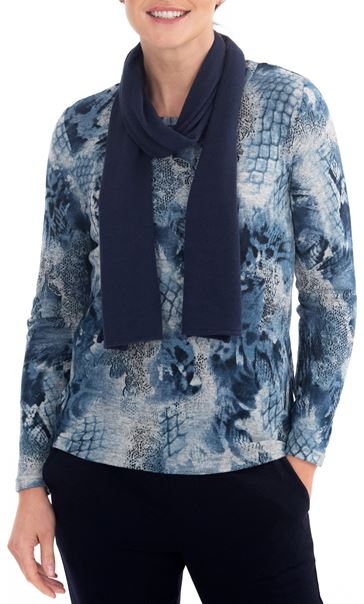 Anna Rose Printed Brushed Knit Top With Scarf Blue/Grey