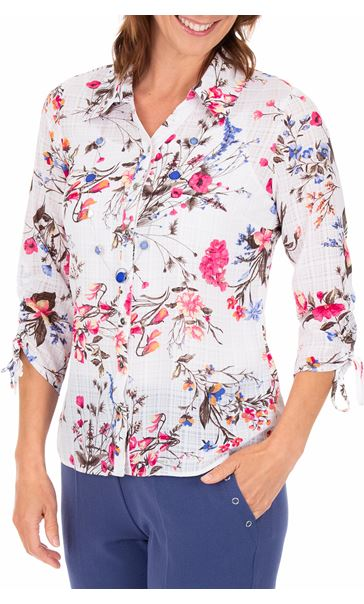 Anna Rose Floral Print Blouse With Necklace White/Pink