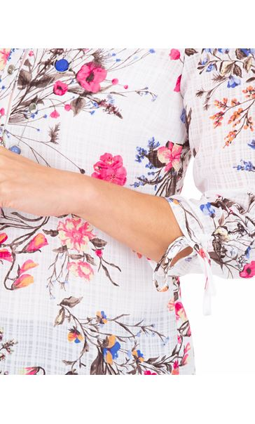 Anna Rose Floral Print Blouse With Necklace White/Pink - Gallery Image 3