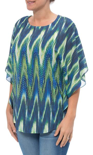 Printed Georgette And Lace Trim Top Blue/Lime