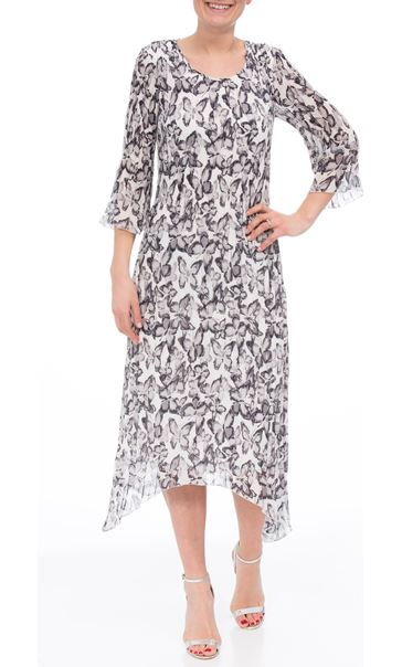 Anna Rose Pleated Butterfly Print Midi Dress Silver Grey/Ivory
