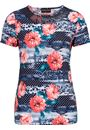 Anna Rose Sequin Trim Floral Top Red/Navy - Gallery Image 4