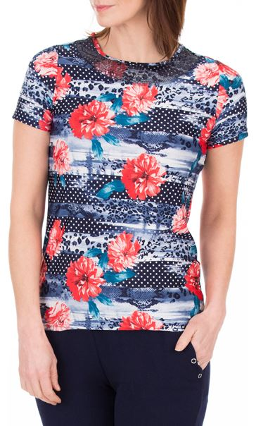 Anna Rose Sequin Trim Floral Top Red/Navy