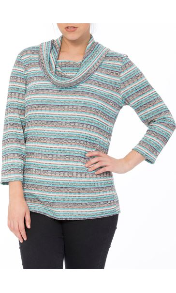 Stripe Cowl Neck Knit Top Black/Gold - Gallery Image 1