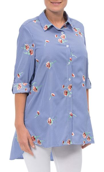Stripe And Embroidered Blouse Blue/White
