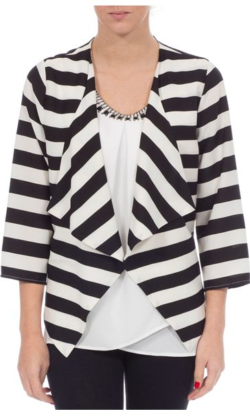 Stripe Three Quarter Sleeve Waterfall Jacket Black/White