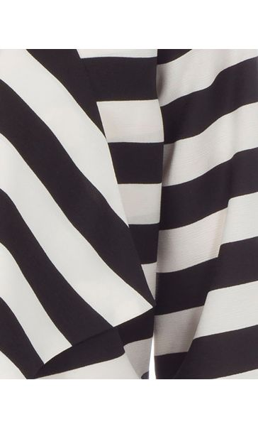 Stripe Three Quarter Sleeve Waterfall Jacket Black/White - Gallery Image 3