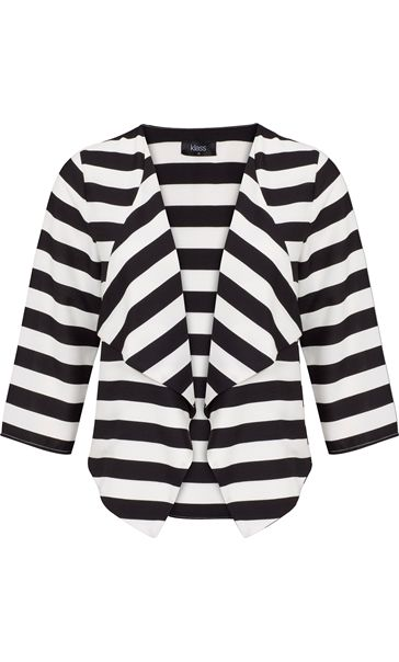 Stripe Three Quarter Sleeve Waterfall Jacket Black/White - Gallery Image 4