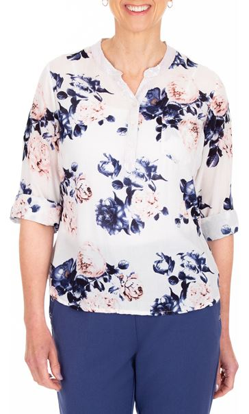 Anna Rose Floral Print Top White/Pink/Navy