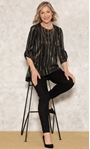 Anna Rose Pleated Top With Necklace Black/Gold - Gallery Image 1