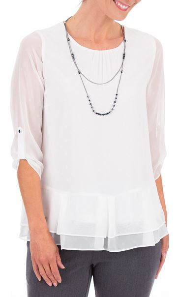 Anna Rose Chiffon Top With Necklace Ivory