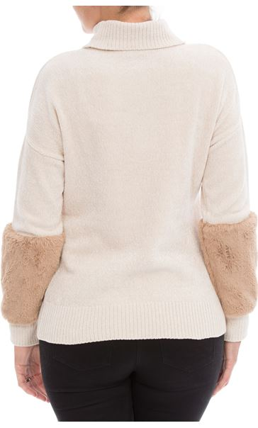 Faux Fur Trimmed Chenille Knit Top Buttermilk - Gallery Image 2