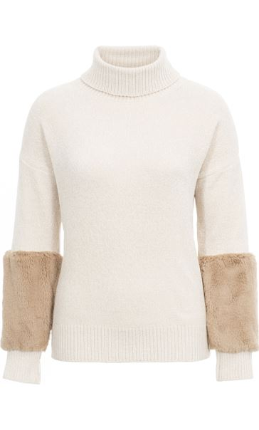Faux Fur Trimmed Chenille Knit Top Buttermilk - Gallery Image 3