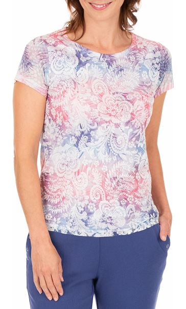 Anna Rose Burn Out Layered Print Top Pink Multi