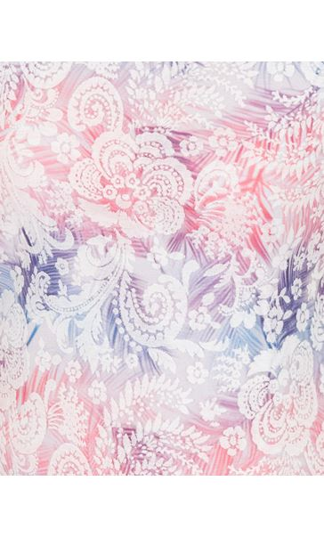 Anna Rose Burn Out Layered Print Top Pink Multi - Gallery Image 3