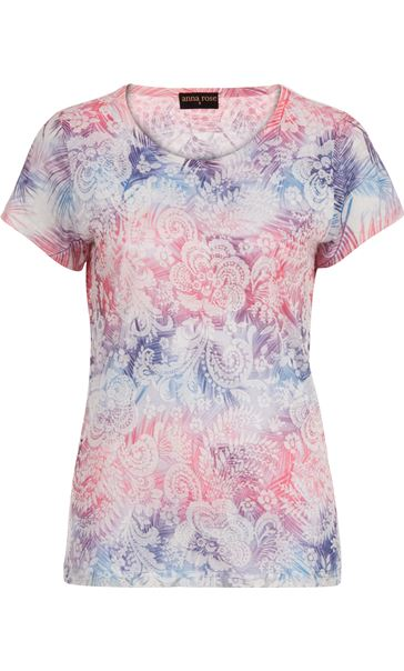 Anna Rose Burn Out Layered Print Top Pink Multi - Gallery Image 4