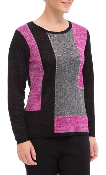 Anna Rose Metallic Colour Block Knit Top Black/Pink