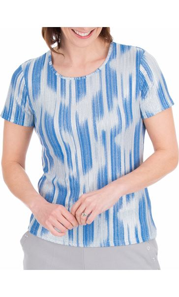 Anna Rose Metallic Stripe Short Sleeve Top Mid Blue