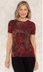 Anna Rose Printed Jersey Top Red/Gold - Gallery Image 1