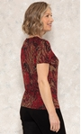 Anna Rose Printed Jersey Top Red/Gold - Gallery Image 2