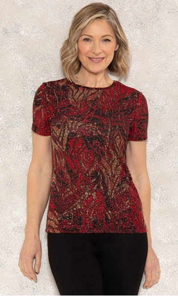 Anna Rose Printed Jersey Top Red/Gold