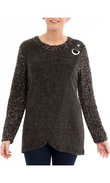 Knitted Wrap Over Top Grey Marl