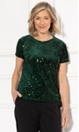 Anna Rose Sequin Velour Short Sleeve Top Green - Gallery Image 1